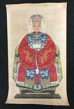 Vintage Aguada en seda pinturas Retrato emperatriz asiático