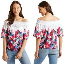 Womens Floral Off Shoulder Top Half Sleeve Bardot Loose Batwing TShirt Plus Size