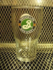 BROOKLYN BREWERY Tulip Style 16oz Beer Pint Glass ~ Double Sided Logo EUC E