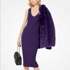 BNWT MICHAEL KORS - Stunning V-Neck Knit Dress - Iris - M - Thames Hospice