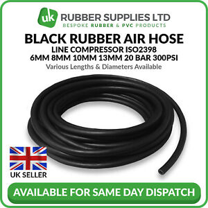 Black Rubber Air Hose Line Compressor ISO2398 6,8,10 & 13mm 20BAR 300PSI 1 Metre