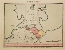 Antique Map PORT LOUIS Brittany France Engr Hand Colored Luffman 1801