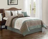 DCP 7Pcs Oversized Embroidery Bed in Bag Microfiber Comforter Set Sage King