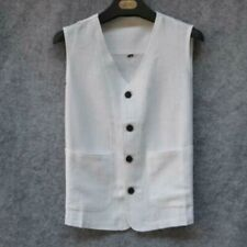 White Chinese Retro Men Tang Suit Cotton Linen Vest Solid Top Sleeveless