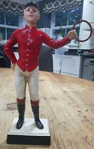 Vintage Cast Iron Jockey Door Stop Equestrian Gift Hitching Post