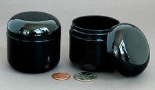 24 BLACK 2oz 60ml Empty Plastic Cosmetic Double Wall Cream Jars Domed Containers