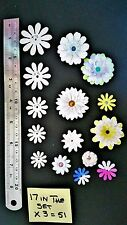 WHITE/IVORY PEARLISED PAPER  FLOWER CUT OUTS TO MAKE YOUR OWN  FLOWERS x 51 pce