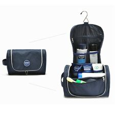 Navy blue Men Spacious Hanging Toiletry Bag Cosmetic Travel Organizer with hook