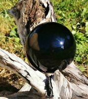 Obsidian Crystal Ball Wood Stand 40mm Divination Gazing Sphere Scrying Orb