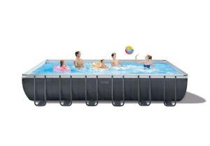 New Intex Swimming pool 24ft x 12ft x 52in Ultra XTR Frame Rectangular Pool Set