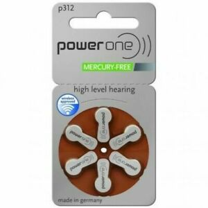 Power One Mercury Free Hearing Aid Batteries Size 312 - BROWN 60 batteries