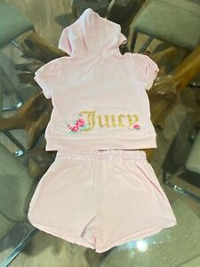 AUTH JUICY COUTURE GIRLS SUMMER TERRY TRACKSUIT BIG LOGO HOODIE + SHORT PANTS 7