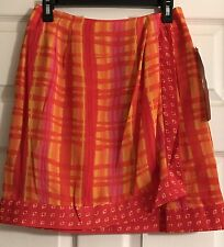 Bentley Arbuckle Tangerine Print Skirt Lined Size 8 NWT Faux Wrap Front Cruise