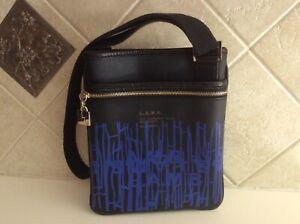 L.A.M.B. Black Printed Pop Royal Blue Cross Body Zipped Adjustable Strap Purse