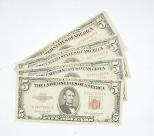Lot of (4) $5.00 Red Seal US Notes Currency Collection $5 1963 or 1953 *640