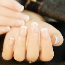 24Pcs French Tips Full False Nails Acrylic Natural Finger Fake Nail Faux Wedding