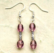 Purple Glass Earrings Sterling Silver Hooks Indian Glass Beads New Pair LB359