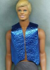 Ken Doll Clothes - Cowboy Vest - Shiny Blue Metallic Genuine Leather