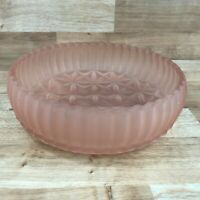 Vintage Frosted Pink  Glass Dessert / Fruit Serving Bowl