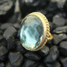 Handmade Huge Nice Green Amethyst Ring Gold over 925 Sterling Silver