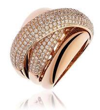 Fascia Pave Diamond 2.35ct F VS in oro rosa 18ct Pesante Anello Nuziale larghezza 18mm