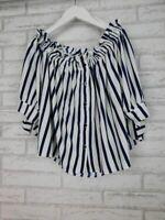 Zara Basic collection Off-shoulder top Blue, white stripe Sz M 3/4 sleeves