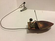 Folk Art Vintage Metalsmith Copper Boat Water Skier Tramp Art