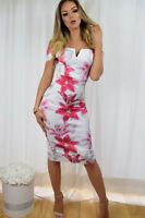 Pink White Floral Bardot Summer Evening Bodycon Wiggle Pencil Party Dress rrp£65