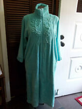 CHENILLE Robe Size Large  🌼 Aqua 🌼  Zip Front Pockets National Style #15574