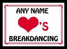 Love Heart Breakdancing Personalised Placemat