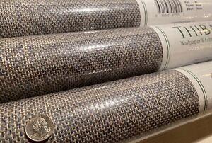 8YD THIBAUT T41137 ADRIATIC Navy Taupe Paperweave Artisanal Wallpaper $400Retail