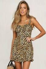 UK Womens Ladies Leopard Print Slip Dress Holiday Beach Mini Dresses Size 10-16