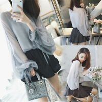 New Korean Womens Lace Up Puff Sleeve Chiffon Shirt Loose Blouse Tops Two Pieces