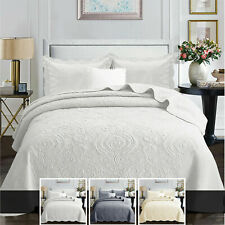 Cotton Bedspread Quilted Bed Throw Single Double King Size Bedding Set & Pillows