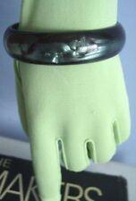 Vintage TRIFARI Signed MOONGLOW LUCITE BANGLE~Forest GREEN Swirl Bracelet,FJT