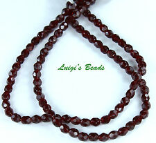 50 Garnet Czech Firepolish Faceted Round Glass Beads 4mm