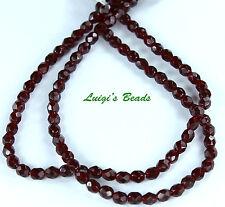 50 Garnet Czech Firepolish Faceted Round Glass Beads 4mm