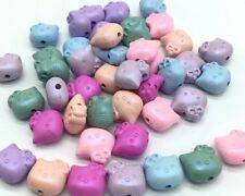 70 pcs acrylic pastel cat beads assorted colours 11mm kawaii matte effect