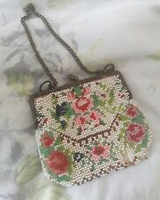Antique victorian ? glass bead pretty small purse bag beaded flower detail