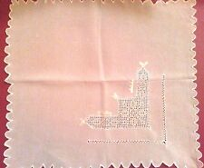 3 Antique off white embroidery silk wedding linen Hankie Handkerchief 9 x 10