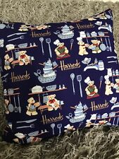 Harrods, kitchen bear, blue cushion cover, cotton with grey velvet envelope back