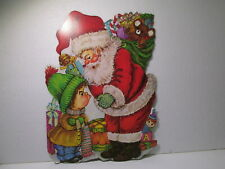 Vintage Cardboard Die Cut Santa With Grumpy Kid Christmas Decoration ch1658