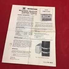 Honeywell Instructions T631A Farm-o-Stat