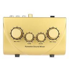 Karaoke Echo Mixer Karaoke Sound Echo Mixer With Cable 100-240V Gold U2B6
