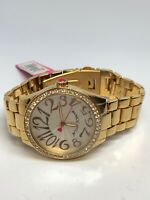 Betsey Johnson Ladies Stainless Steel Gold Tone Quartz Watch