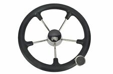 5 Spoke Boat Marine Destroyer Steering Wheel 13-1/2 Inch Black Foam Grip knob-AM