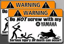 Yamaha snowmobile Funny Warning sticker decal snow ski