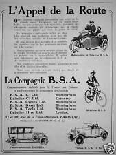 PUBLICITÉ 1922 LA COMPAGNIE B.S.A. MOTOCYCLETTE L'APPEL DE LA ROUTE