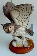 FRANKLIN MINT PORCELAIN HORN OWL SCULPTURE [[ FREE SHIPPING ]]