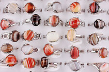 Wholesale Lots Mixed 5Pcs Red Natural Agate Gemstone Tibet Silver P Rings FREE